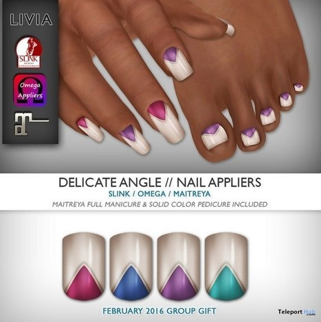Delicate Angle Nails February 2016 Group Gift by LIVIA | Teleport Hub - Second Life Freebies | Second Life Freebies | Scoop.it