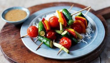 Oriental vegetable kebabs with peanut dressing ... BBC - Food - Recipes | @FoodMeditations Time | Scoop.it