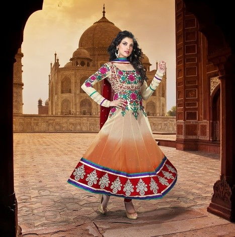 Gravity Fashion - Attractive Apricot & Tango Orange Salwar Kameez | If loving Fashion is a Crime, We Plead Guilty | Scoop.it