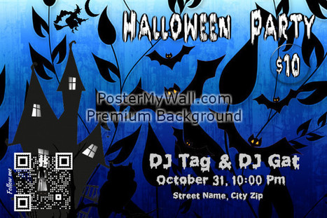 Haloween party flyer with a QR that links to a Facebook page on PosterMyWall | QR CODE TEMPLATES | Scoop.it