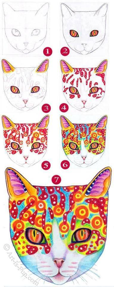 How to Draw a Cat: Learn How to Create a Unique Colorful Cat Drawing | Drawing and Painting Tutorials | Scoop.it