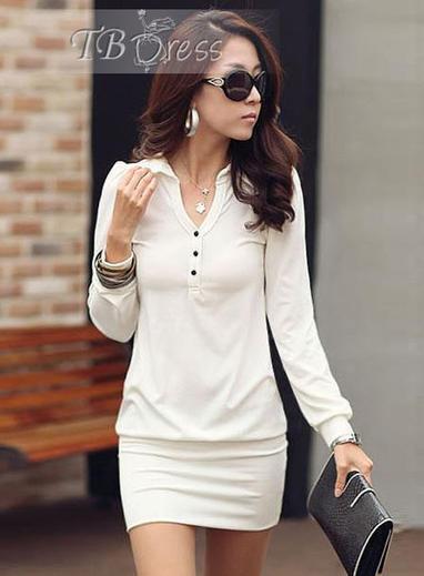Fabulous OL Style Simple Lapel Long Sleeves Dress   women fashion&clothing   Scoop.it