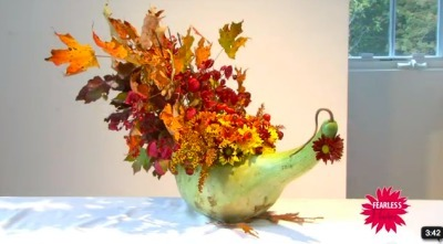 "Thanksgiving ""Turkey Centerpiece"" Made with Gourd and Flowers! 