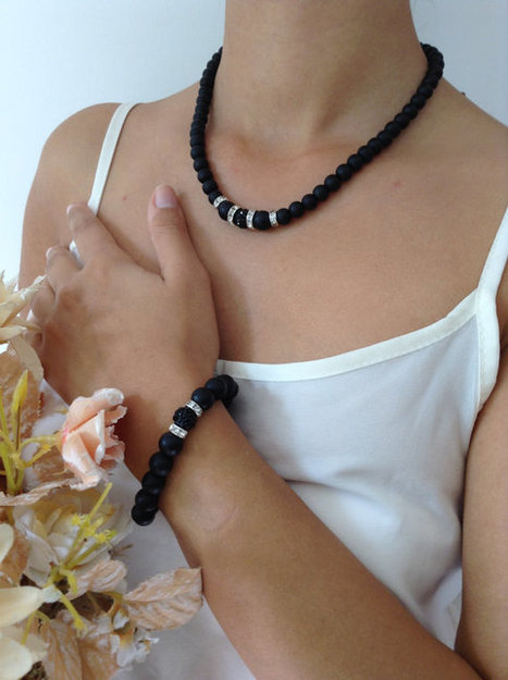 black onyx necklace bracelet set, party jewelry,Christmas gift, Bridesmaid Necklace, Bridesmaid Jewelry, Wedding Jewelry,bridesmaid gift | wedding | Scoop.it