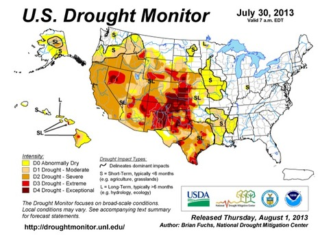 US Drought Monitor, August 1, 2013 | Plant Breeding and Genomics News | Scoop.it