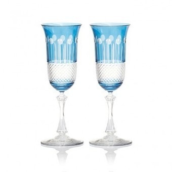 Sky Blue Champagne Glasses, Set of 2 - | Coloured Crystal | Scoop.it