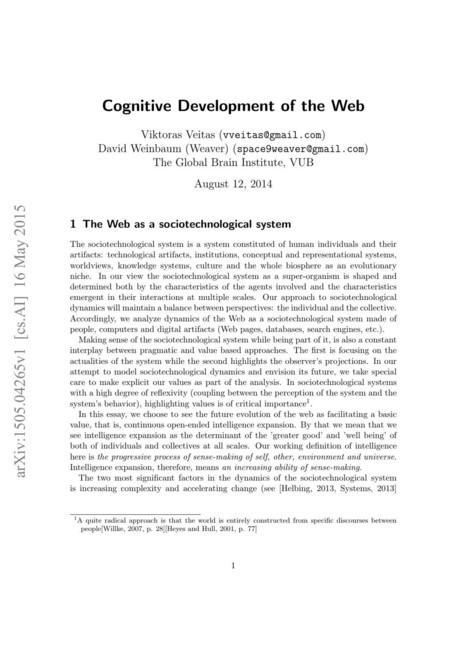 [1505.04265] Cognitive Development of the Web | Cognitive Science - Artificial Intelligence | Scoop.it