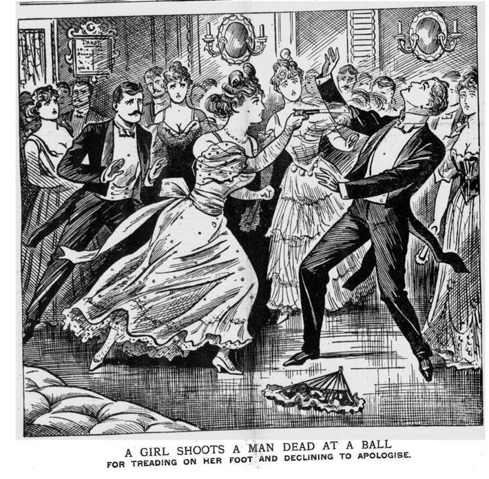 Girls Shoots Mad Dead At Ball: illustrated police news from 1898 | Herstory | Scoop.it