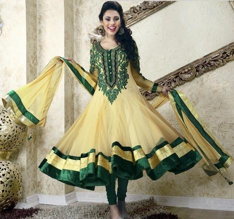 Gravity Fashion - Adorable Bttercream & Sea Green Salwar Kameez   Bollywood Anarkali Dresses   Scoop.it