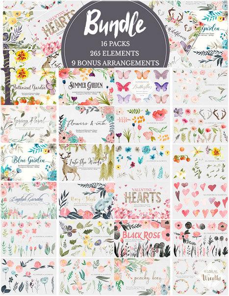 Bundle Deal | Watercolor Flowers & Antlers Clip Arts • $15 | ends soon! | Design Freebies & Deals | Scoop.it