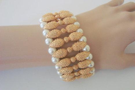 Vintage Retro Wide Chunky Faux Pearl Textured Goldtone Bracelet | Jewelry | Scoop.it