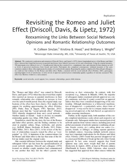 Revisiting the Romeo and Juliet Effect (Driscoll, Davis, & Lipetz, 1972) - Social Psychology - Volume 45, Number 3 / 2014 - Hogrefe Publishing | Bounded Rationality and Beyond | Scoop.it