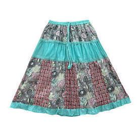 moguinterior Gypsy Boho Maxi Skirt Turquiose Printed Crinkled Patchwork Long Skirts - Clothing - Women's - Skirts | Bohemian Harem Pant | Scoop.it
