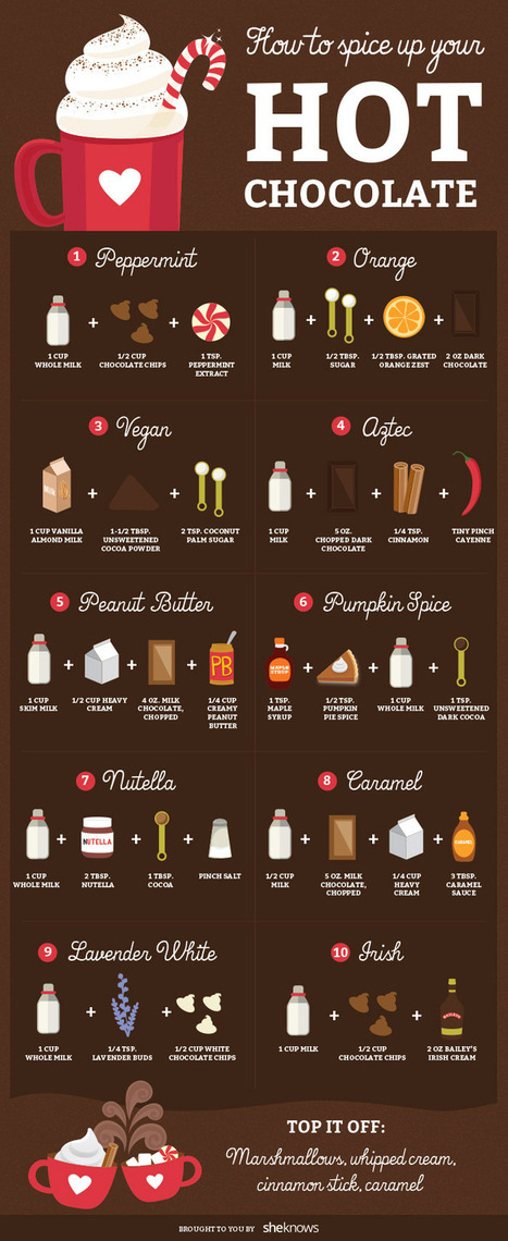 Upgrade your hot chocolate with these 18 amazing flavor combos (infographic) | Vegetarian Food and Recipes | Scoop.it