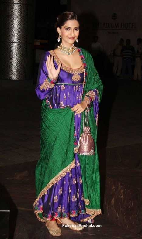 Sonam Kapoor in Blue deep Neck Anarkali Churidar Salwar Kameez by Anuradha Vakil | Indian Fashion Updates | Scoop.it