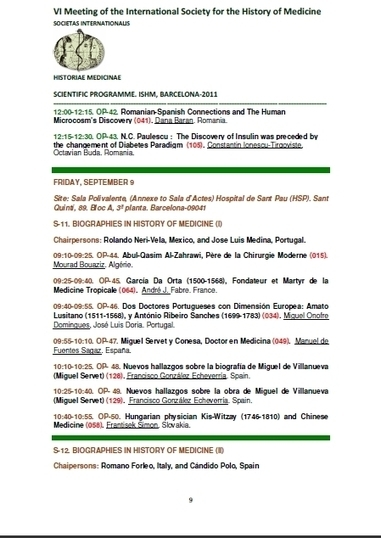 01-09-2011 VI Meeting of the International Society for the History of Medicine communications of González Echeverría   Michael Servetus. Discovered  new works and true Identity. Proofs, lectures and International Congresses.   Scoop.it
