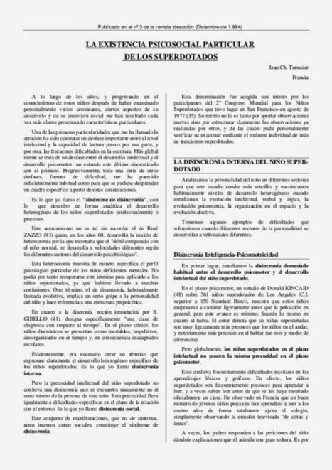 GTA (Grupos de Trabajo y Apoyo a las Altas Capacidades Intelectuales) ASTURIAS: LA EXISTENCIA PSICOSOCIAL PARTICULAR DE LOS SUPERDOTADOS (Jean-Charles Terrasier) | GTA DE ALTAS CAPACIDADES INTELECTUALES | Scoop.it