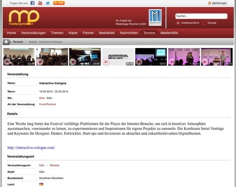 Termine - Interactive Cologne   medienportal.tv   Web de Cologne   Scoop.it