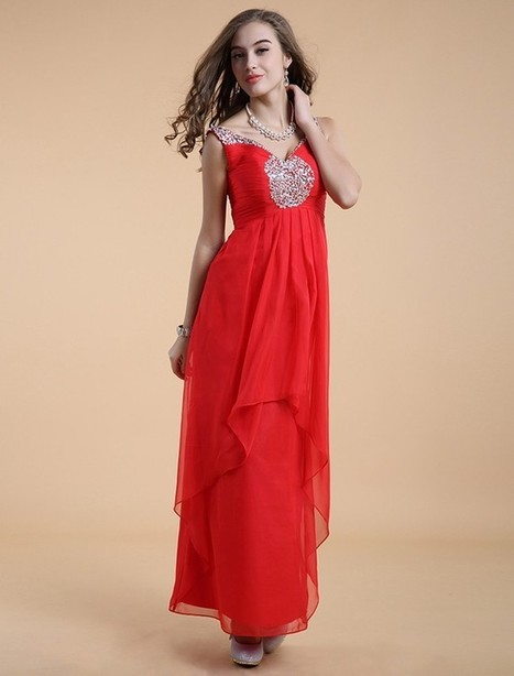 Princess V Neck Floor Length Red Evening Dress Olc0080 | Fashion Dresses Online | Scoop.it