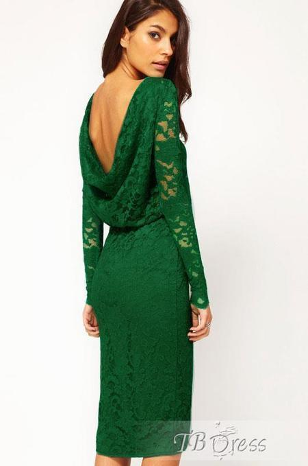 $ 47.39 Green Midi Dress in Lace with Cowl Back and Split Sexy Sheath Dress | fashion | Scoop.it