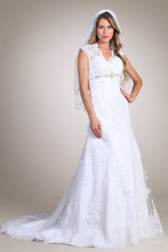Rent Sheer cap Sleeve Lace Wedding Dresses Online | Rent The Dress | Wedding Dresses | Scoop.it