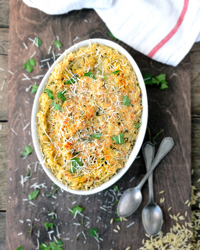 Creamy Baked Orzo with Goat Cheese Recipe | À Catanada na Cozinha Magazine | Scoop.it