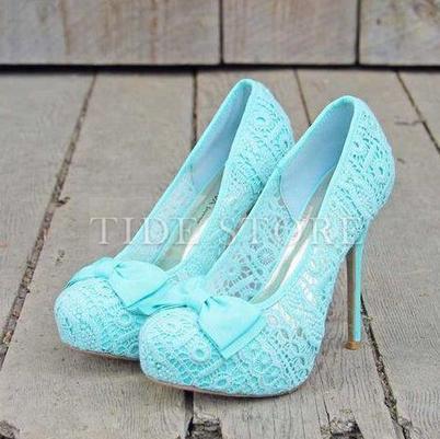 Elegant Little Blue Platform Stiletto Heels with Bowtie   2014 spring  women's fashion   Scoop.it