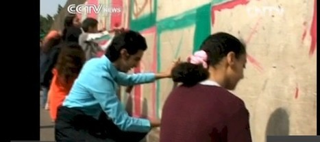 """Egyptian youth """"coloring thru corruption"""" in Cairo CCTV News (video) 
