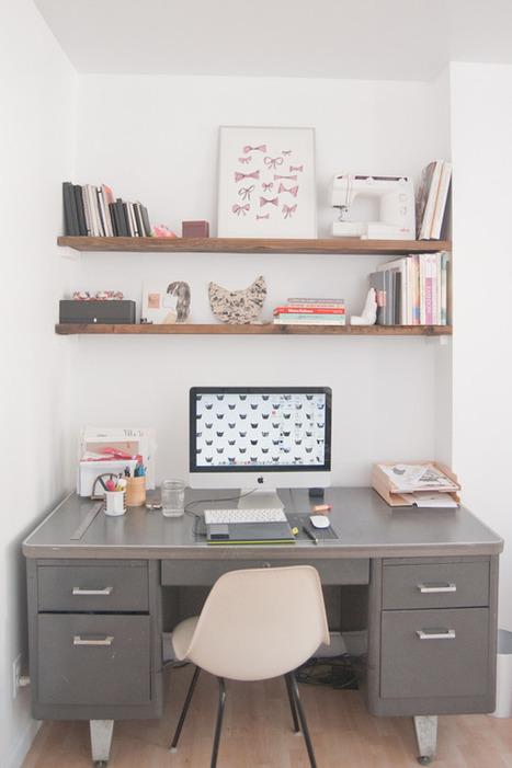 Un joli bureau rétro pour un couple d'artistes new-yorkais | DecoCrush blog déco, idées déco | décoration & déco | Scoop.it