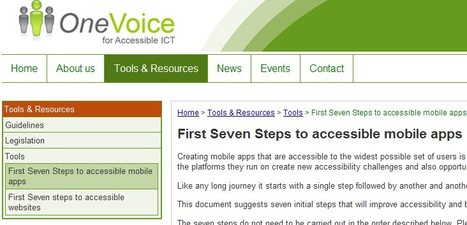 First Seven Steps to accessible mobile apps | OneVoice for Accessible ICT | Inclusive teaching and learning | Scoop.it