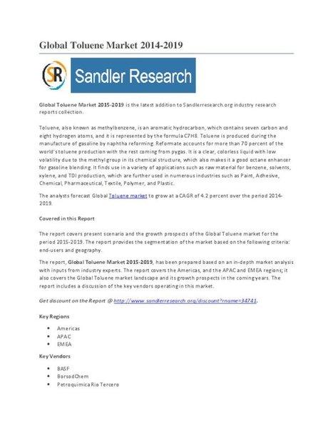 Global Toluene Market 2015-2019 - PdfSR.com   Market Research Report at SandlerResearch   Scoop.it