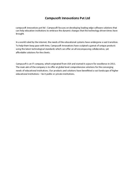 Campusoft Innovations Pvt Ltd - PDF   Joomla Development Company - Joomla Developers   Joomla Web Development Services   Scoop.it