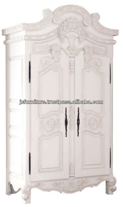 ANTIQUE FRENCH STYLE ARMOIRE WARDROBE WHITE PAINTED FURNITURE MAHOGANY HAND CARVED, View French Style Furniture, FRENCH STYLE WARDROBE 2 DOORS Product Details from CV. JEPARA CRAFTER FURNITURE on A... | Indonesian Teak Wood Furniture Indoor and Outdoor | Scoop.it