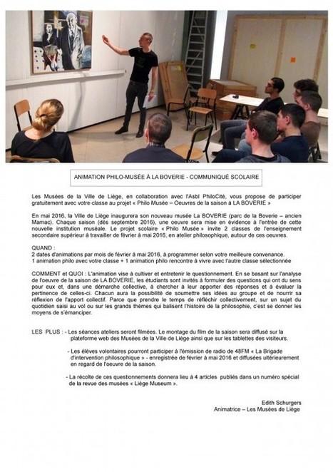 PhiloCité | Animations philo-musée à la Boverie – Communiqué scolaire | Philosophie en France | Scoop.it