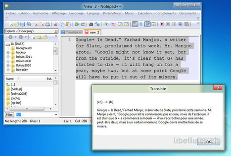 Traduire un texte d'une langue à l'autre dans Notepad++ | Time to Learn | Scoop.it
