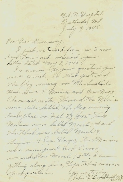 "Primary Doc. #3 ""Letter from John H. Bradley""   The Battle of Iwo Jima   Scoop.it"