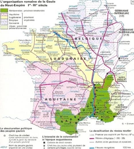 Carte de la gaule romaine Ier III e siècles | Cartes historiques et cartes d'Histoire | Scoop.it