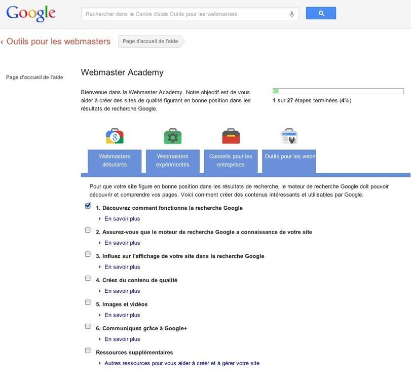 L'Académie des Webmasters Google disponible en français