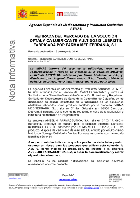 Cese de la utilización, cese de la comercialización y retirada del mercado de la solución oftálmica lubricante multidosis LUBRISTIL, fabricada por FARMA MEDITERRANIA, S.L. | Salud Visual (Profesional) 2.0 | Scoop.it