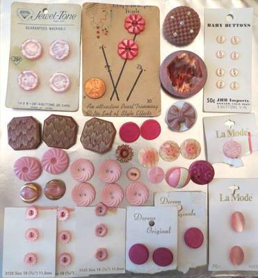 Mix PINK Vtg BUTTON LOT 52 Rhinestone ART DECO Floral GLASS Sets CARDED France | Antiques & Vintage Collectibles | Scoop.it
