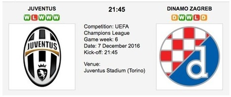Juventus vs. Dinamo Zagreb: UCL Preview 07/12/2016 | Free betting tips on football,tennis,hockey & more | Scoop.it