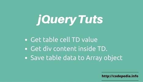 Complete Tutorial - jQuery get table cell data [TD value] - Codepedia | Bazaar | Scoop.it