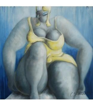 Swimmer n°6 - Jaune - Corinne Brenner - Galerie d'art contemporain le hangART | Tableaux de C. Brenner | Scoop.it