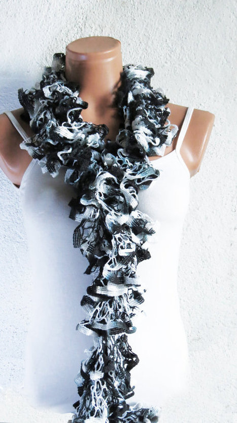 Ruffled Scarf in Black White Gray, SCARVES, Gift For Her, Holiday Scarf Sale, Woman Scarves, Scarf for Teens, Adults, Winter Accessories by WomanStyleShop | women fashion | Scoop.it