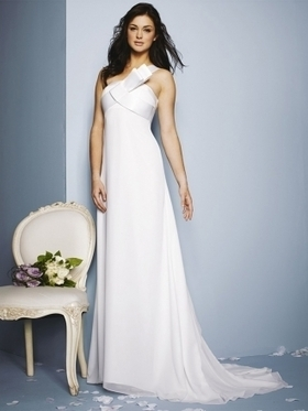 Sheath/Column One Shoulder Chiffon Satin Sweep Train Draped Wedding Dresses at Millybridal.com | wedding and event | Scoop.it