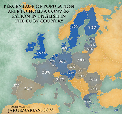 People speaking English in the EU by country : % MAP | EFL-ESL, ELT, Education | Language - Learning - Teaching - Educating | Scoop.it