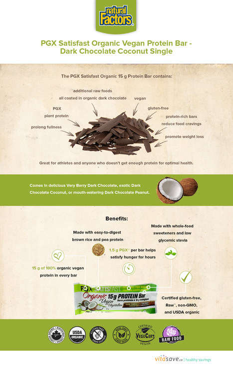 Natural Factors PGX Satisfast Organic Vegan Protein Bar-Dark Chocolate Coconut Single | my article | Scoop.it