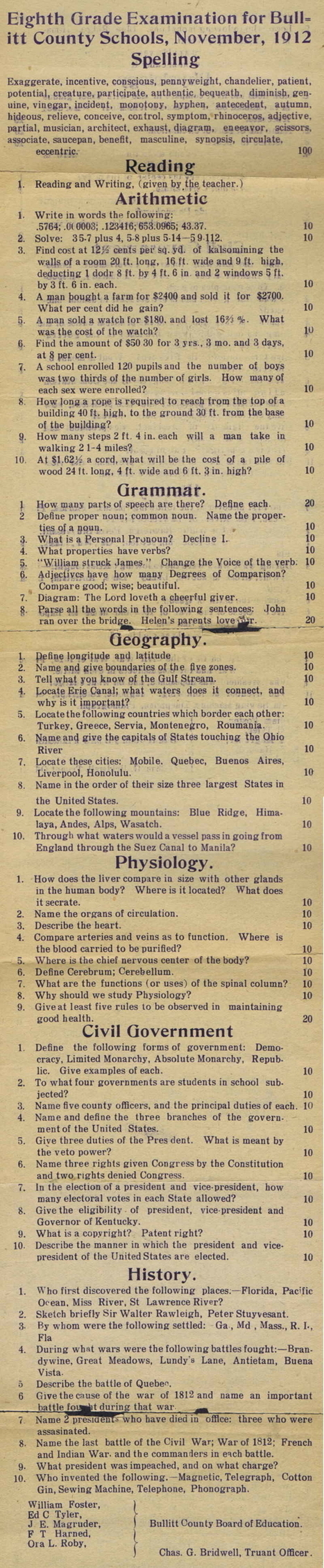 Can You Pass This Test Originally Given to 8th Graders Living in Kentucky in 1912? | Beyond the Stacks | Scoop.it
