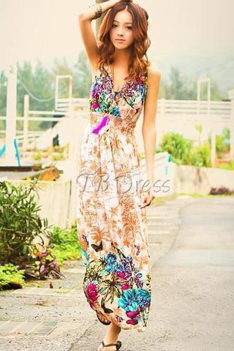 $ 28.99 Beautiful Deep V-neck Lace Bowknot Back Maxi Dress | fashion | Scoop.it