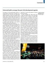 Universal health coverage and the post-2015 development agenda | Poverty Assignment_ Tan Wai Hoe | Scoop.it